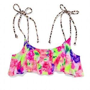 PINK VS Floral Animal Print Flounce Bikini Top
